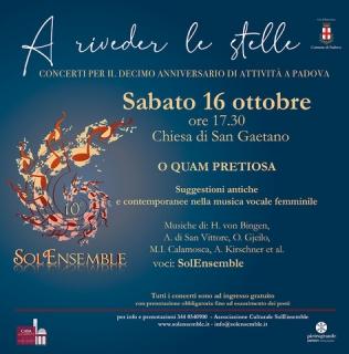 """""""A riveder le stelle"""" 16/10/21 – O quam pretiosa: suggestioni antiche e contemporanee nella musica vocale femminile"""